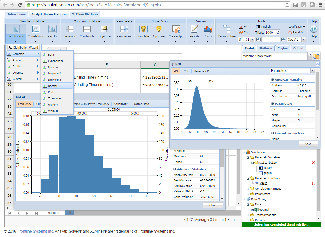 Simulation and Risk Analysis Using Analytic Solver SIM101